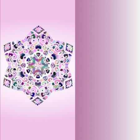 Oriental mandala motif round lase pattern on the violet background, like snowflake or mehndi paint Stock Vector - 18322381