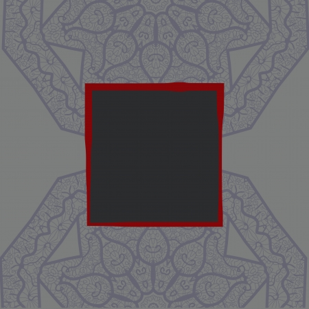 Oriental motif square lase pattern on the dark gray background, like snowflake or mehndi paint color background Vector