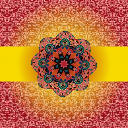 Oriental mandala motif round lase pattern on the brown red background, like snowflake or mehndi paint