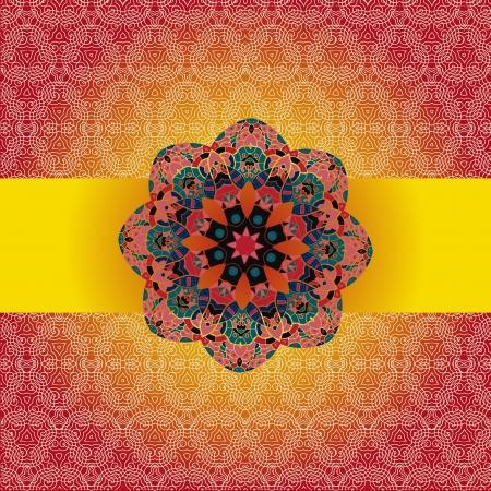 Oriental mandala motif round lase pattern on the brown red background, like snowflake or mehndi paint