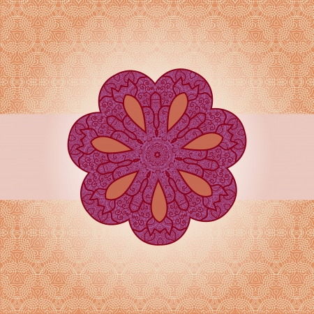 mendie: Oriental mandala motif round lase pattern on the orange background, like snowflake or mehndi paint color background Illustration