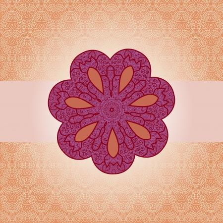 Oriental mandala motif round lase pattern on the orange background, like snowflake or mehndi paint color background Illustration
