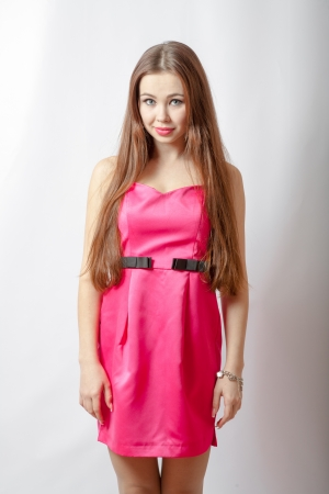 blond girl in pink dress and makeup torso photo