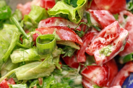 delicious green salad with lettuce and tomatoes with various garnish photo