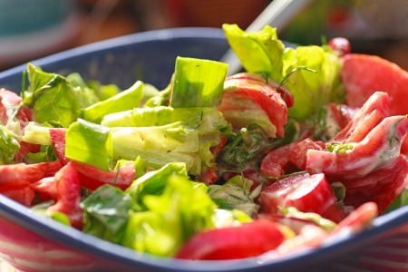 delicious and fresh caesar salad, closeup photo photo