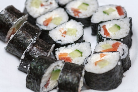 Maki Sushi - Roll made of Smoked Eel, Cream Cheese and Deep Fried Vegetables inside photo