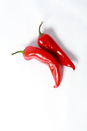 two red hot chili peppers on white background photo