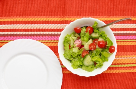 A green salad in a stylish white bowl  With rocket leaves cherry tomatoes spanish onions and capsicum  Empty white plate near Stock Photo - 18396997
