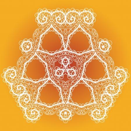 Oriental mandala motif round lase pattern on the yellow background, like snowflake or mehndi paint of orange color Vector