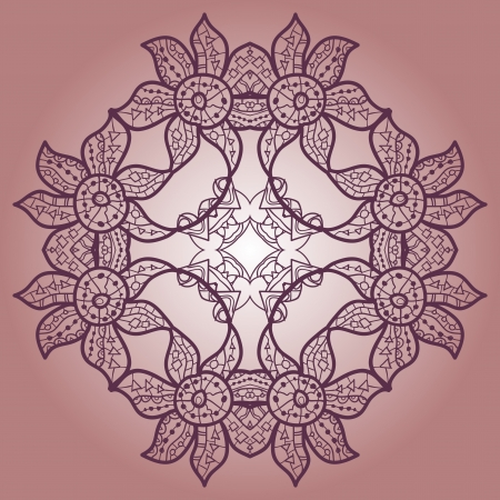 Oriental mandala motif round lase pattern on the violet background, like snowflake or mehndi paint of deep pink color