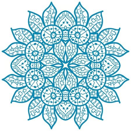 Oriental Blue mandala motif round lase pattern on the white background, like snowflake or mehndi paint Illustration