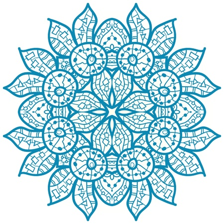 Oriental Blue mandala motif round lase pattern on the white background, like snowflake or mehndi paint Illustration