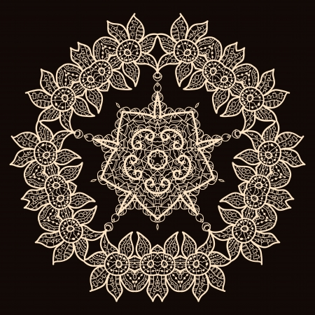 Oriental mandala motif round lase pattern on the black background, like snowflake or mehndi paint of deep red color