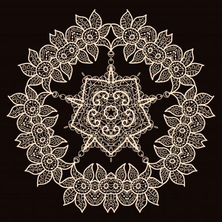 Oriental mandala motif round lase pattern on the black background, like snowflake or mehndi paint of deep red color