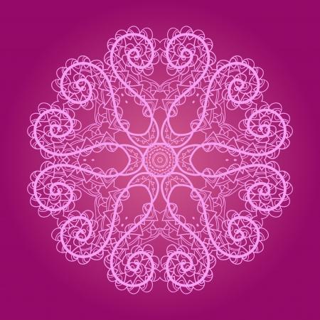 marocchini: Oriental mandala motivo rotondo modello lase su sfondo viola, come il fiocco di neve o vernice mehndi