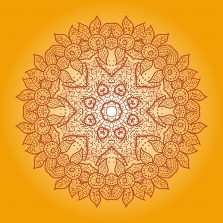 Oriental mandala motif round lase pattern on the yellow background, like snowflake or mehndi paint of orange color  Ethnic backgrounds concept