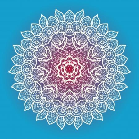 Oriental mandala motivo rotondo modello lase su sfondo blu, come il fiocco di neve o vernice mehndi in colore blu chiaro etnie concetto di arte nativa Archivio Fotografico - 18471759