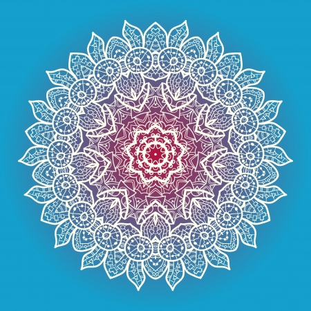 Oriental mandala motif round lase pattern on the blue background, like snowflake or mehndi paint in light-blue color  Ethnic backgrounds native art concept Illustration
