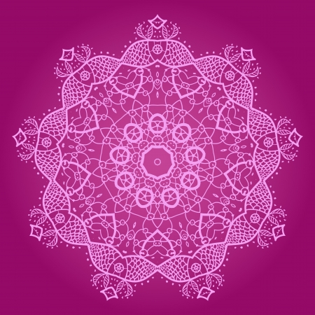 Oriental mandala motif round lase pattern on the violet background, like snowflake or mehndi paint of deep pink color Stock Vector - 18471752