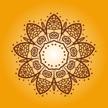 Oriental mandala motif round lase pattern on the yellow background, like snowflake or mehndi paint of orange color Illustration