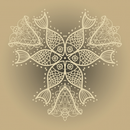 persian culture: Fishes ornament  Oriental mandala motif round lase pattern on the light brown background, like snowflake or mehndi paint of orange color  Ethnic backgrounds concept