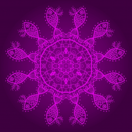 Violet fishes  Oriental mandala motif round lase pattern on the pink background, like snowflake or mehndi paint in red and blue Vector
