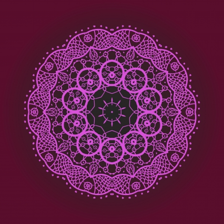 Oriental mandala motif round lase pattern on the violet background, like snowflake or mehndi paint of deep pink color Stock Vector - 18471711