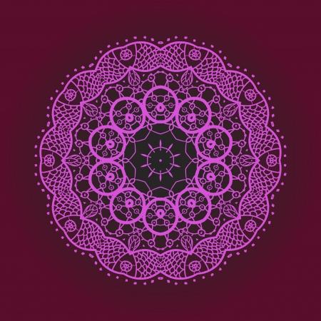 deep pink: Oriental mandala motif round lase pattern on the violet background, like snowflake or mehndi paint of deep pink color