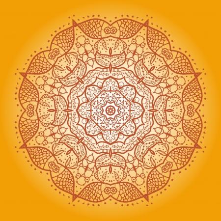 Fish  Oriental Yellow mandala motif round lase pattern on the black background, like snowflake or mehndi paint on yellow color background