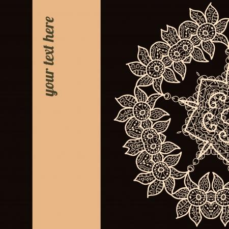 Marco negro marr�n adornado con texto de ejemplo perfecto como invitaci�n o aviso Todas las piezas son independientes F�cil de cambiar los colores y editar