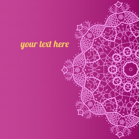 Ornate ornamental indian half mandala frame with fishel for text in pink color  Perfect as invitation or announcement  Easy to change colors and edit