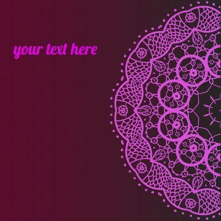 Ornate ornamental indian half mandala frame for text in pink color  Perfect as invitation or announcement  Easy to change colors and edit  Vector