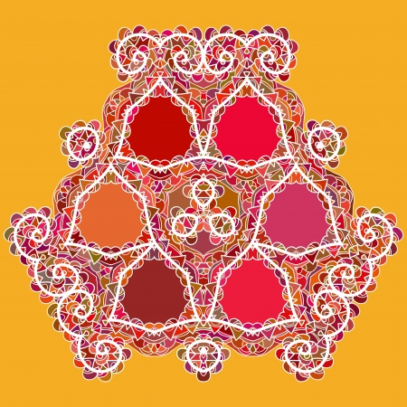 Oriental mandala motif round lase pattern on the yellow background, like snowflake or mehndi paint of orange color  Ethnic backgrounds concept  what is karma