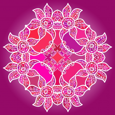 what is karma  Oriental mandala motif round lase pattern on the violet background, like snowflake or mehndi paint of deep pink color Illustration