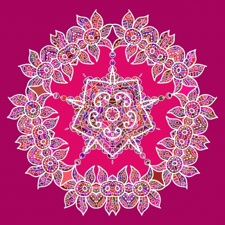 what is karma  Oriental mandala motif round lase pattern on the pink background, like snowflake or mehndi paint in red and blue Vector