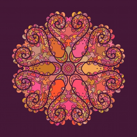 Oriental mandala motif round lase pattern on the yellow background, like snowflake or mehndi paint of orange color  What is karma  Ethnic backgrounds concept