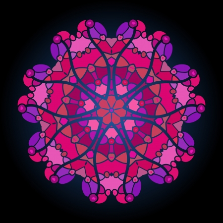 what is karma: what is karma  Oriental mandala motif round lase pattern on the violet background, like snowflake or mehndi paint of deep pink color Illustration
