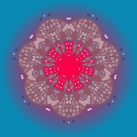 Oriental mandala motif round lase pattern on the blue background, like snowflake or mehndi paint in light-blue color  What is karma  Ethnic backgrounds native art concept Vector