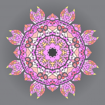 what is karma  Oriental mandala motif round lase pattern on the pink background, like snowflake or mehndi paint in red and blue