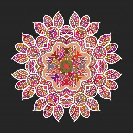 What is karma  Oriental mandala motif round lase pattern on the black background, like snowflake or mehndi paint of deep red color
