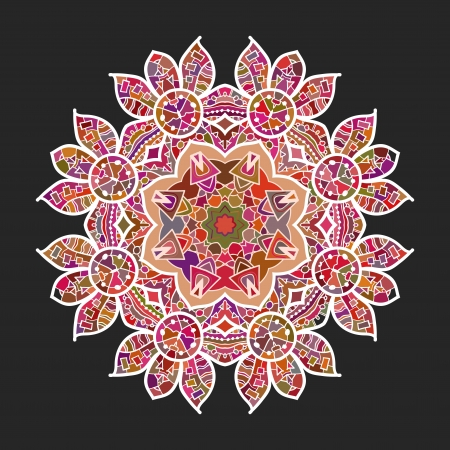 What is karma  Oriental mandala motif round lase pattern on the black background, like snowflake or mehndi paint of deep red color