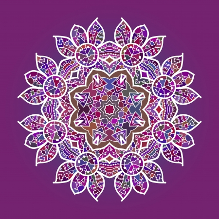 Oriental mandala motif round lase pattern on the pink background, like snowflake or mehndi paint in red and blue  what is karma