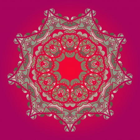Oriental mandala motif round lase pattern on the pink background, like snowflake or mehndi paint in red and blue Vector