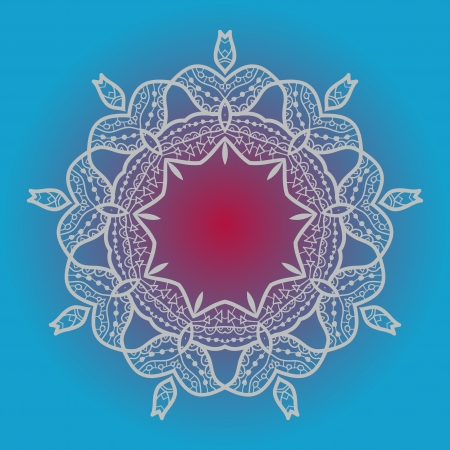 Oriental mandala motif round lase pattern on the blue background, like snowflake or mehndi paint in light-blue color  What is karma  - Ethnic backgrounds native art concept Illustration
