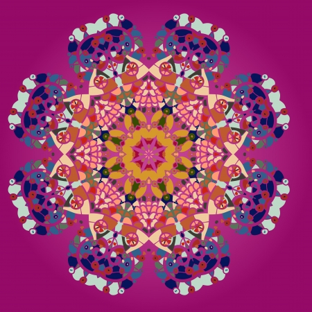 Oriental mandala motif round lase pattern on the pink background, like snowflake or mehndi paint in red and blue  what is karma Stock Vector - 18500616