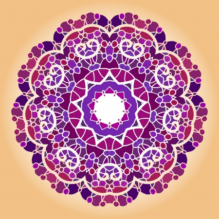 Oriental mandala motif round lase pattern on the violet background, like snowflake or mehndi paint of deep pink color  what is karma