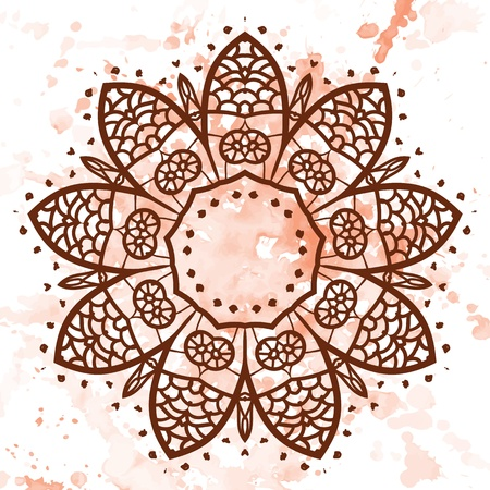 what is karma: what is karma  Oriental mandala motif round lase pattern on the yellow background, like snowflake or mehndi paint of orange color  Ethnic backgrounds concept Illustration