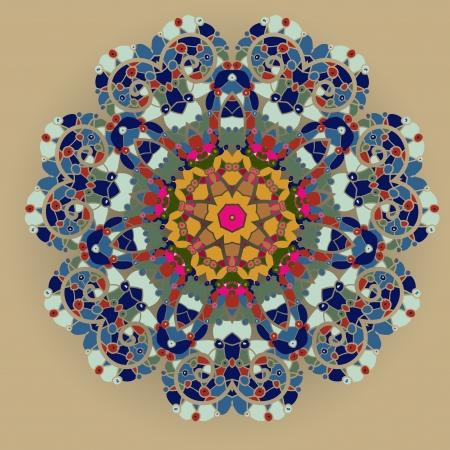 ¿qué es el karma oriental motivo mandala ronda patrón lase en el fondo amarillo, como copo de nieve o pintura mehndi concepto de color naranja orígenes étnicos Foto de archivo - 18500593
