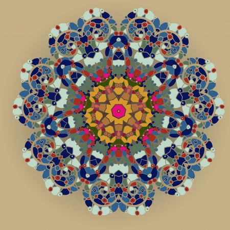wat is karma Oosterse mandala motief ronde lase patroon op de gele achtergrond, zoals sneeuwvlok of mehndi verf van oranje kleur etnische achtergronden begrip