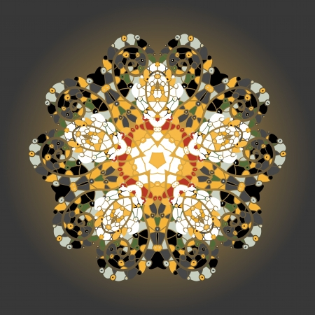 Oriental mandala motif round lase pattern on the yellow background, like snowflake or mehndi paint of orange color  Ethnic backgrounds concept  what is karma  Vector